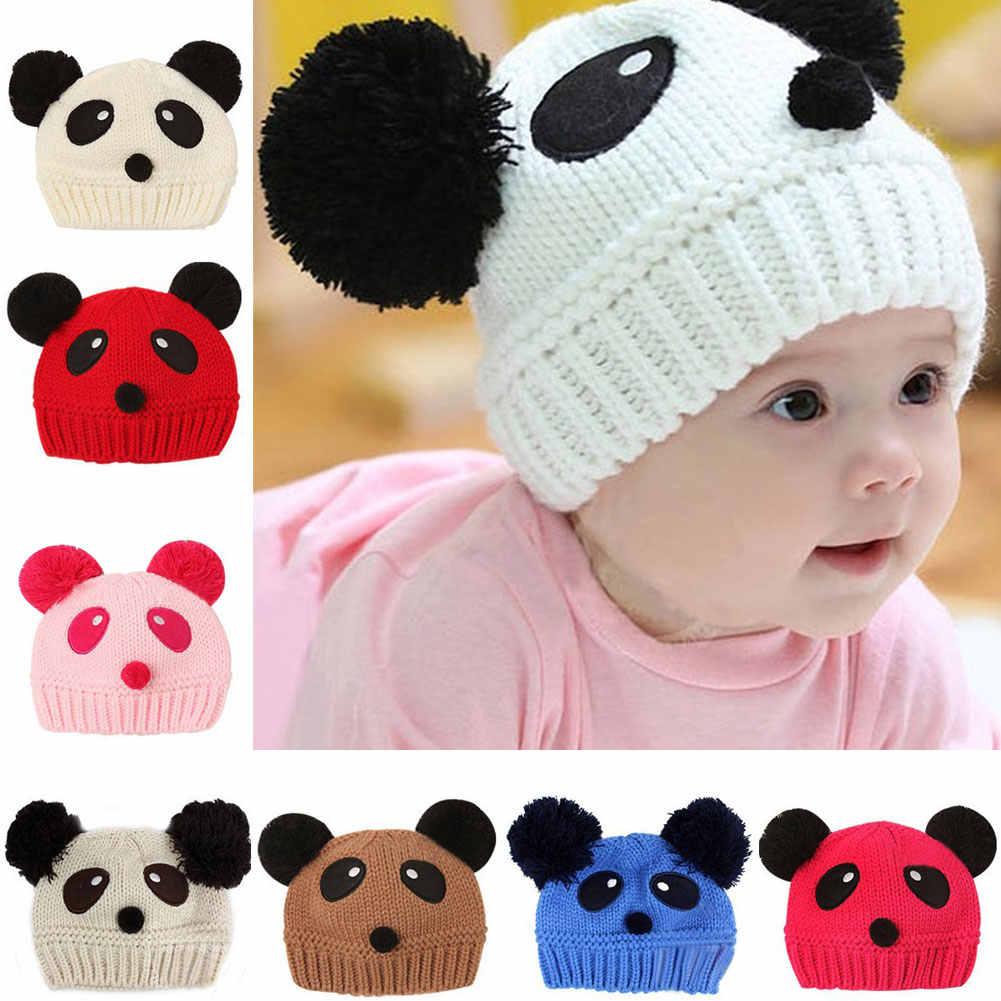 прекрасный животного панды детские трикотажные шапки детские зимние штаны