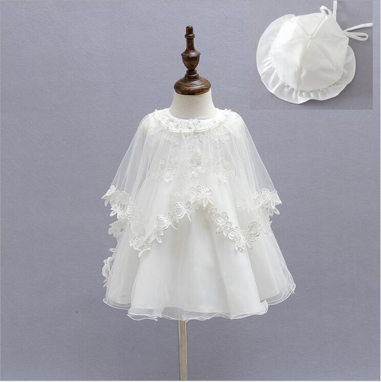 Nouveau-né photographie robe fille infantile vêtements enfant en bas âge baptême princesse anniversaire robes robe de baptême Incl robe chapeau châle