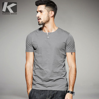 KUEGOU 2017 Summer Mens Casual T Shirts Button White Black Gray Brand Clothing Man's Short Sleeve Slim T-Shirts Tops Tees 15114