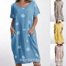 Женское платье большого размера, лето, новые платья в горошек с круглым вырезом и принтом, платья с коротким рукавом