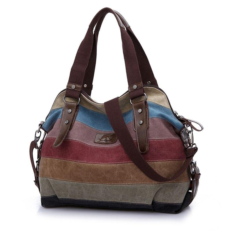 32867483010c Famous Brand K2 Women Bag Canvas Handbag 2017 Messenger Bag Leather  Shoulder Bag Stripe Crossbody Bag Rainbow bolsa mujer C-in Shoulder Bags  from Luggage ...