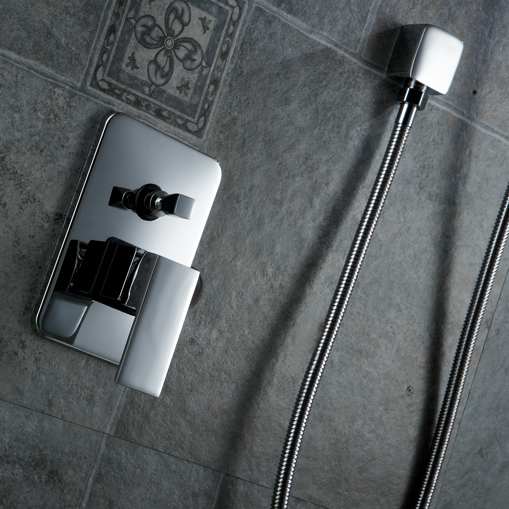 BAKALA Luxury 8-10-12-16 inch Stainless Steel Bathroom rain  shower faucets head shower set with hand shower shower kit