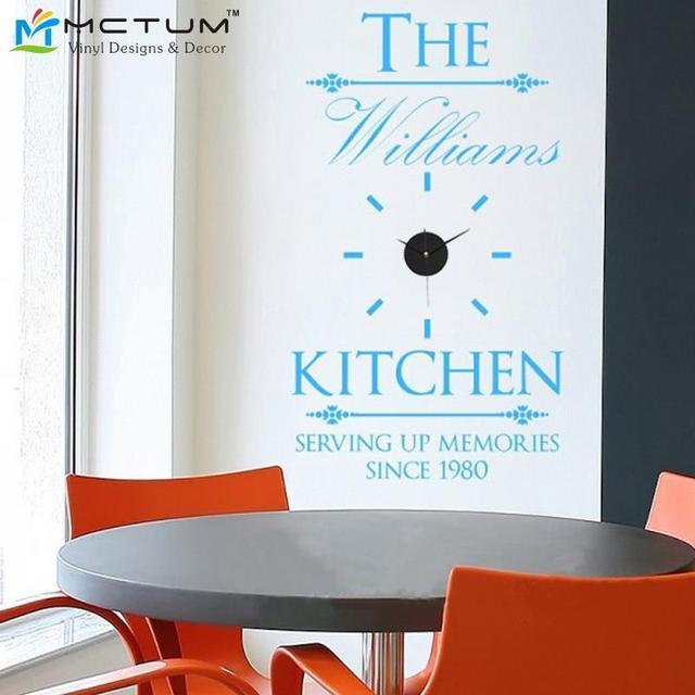 Custom Wall Clock Sticker Personalized Family Name Decal DIY Modern Design Creatively Acrylic&Vinyl Kitchen Decor