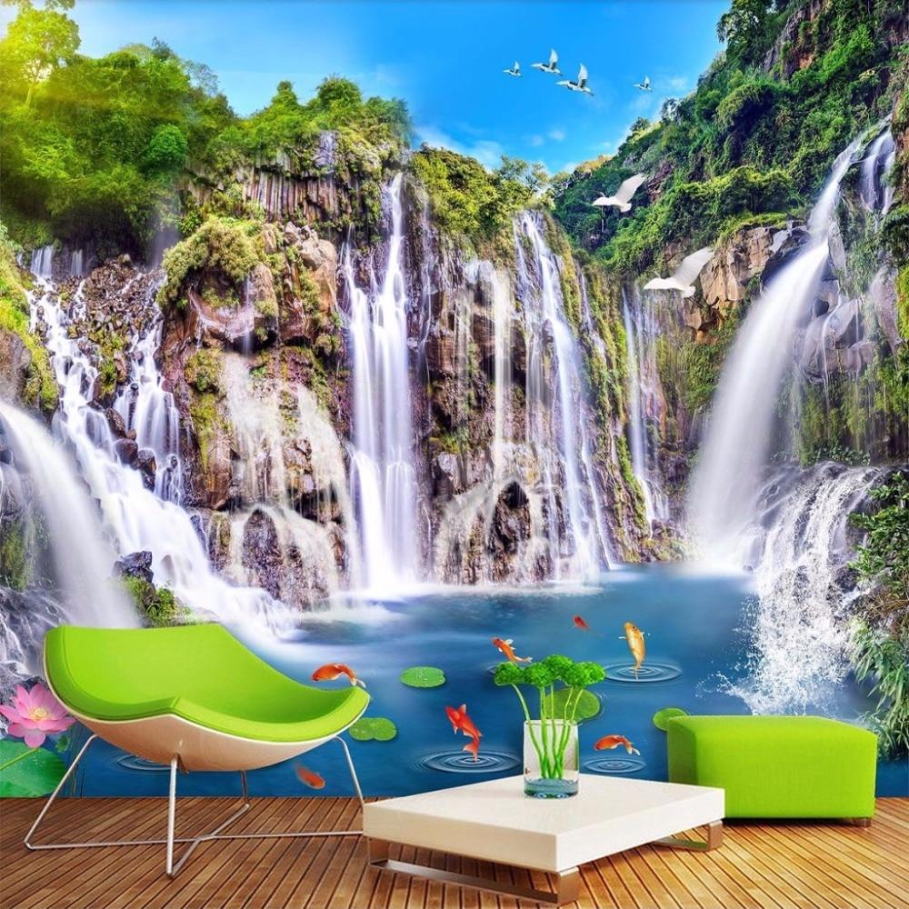 Custom Wallpaper Murals 3D Nature Landscape Waterfall