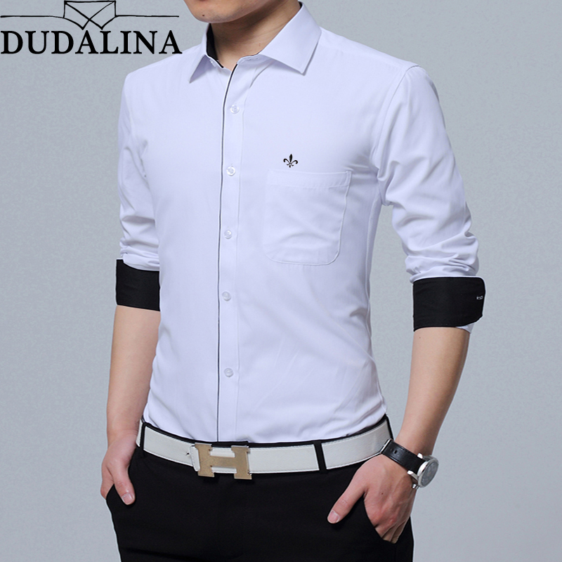 Dudalina Shirt Male Casual Men Shirt 2019 Long Sleeve Formal Business Man Shirt Slim Fit Designer Twill Dress Spell Color