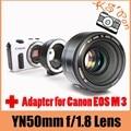 YONGNUO YN EF 50 мм f/1.8 AF Объектив Диафрагмы Автофокусом + Meike MK-C-AF4 Электронный Автофокус Адаптер для Canon EOS M 3