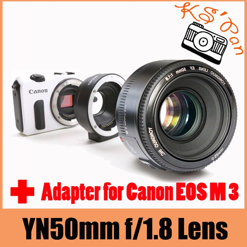 YONGNUO YN EF 50mm f/1.8 AF Lens Aperture Auto Focus + Meike MK-C-AF4 Electronic Auto Focus Adapter for Canon EOS M 3
