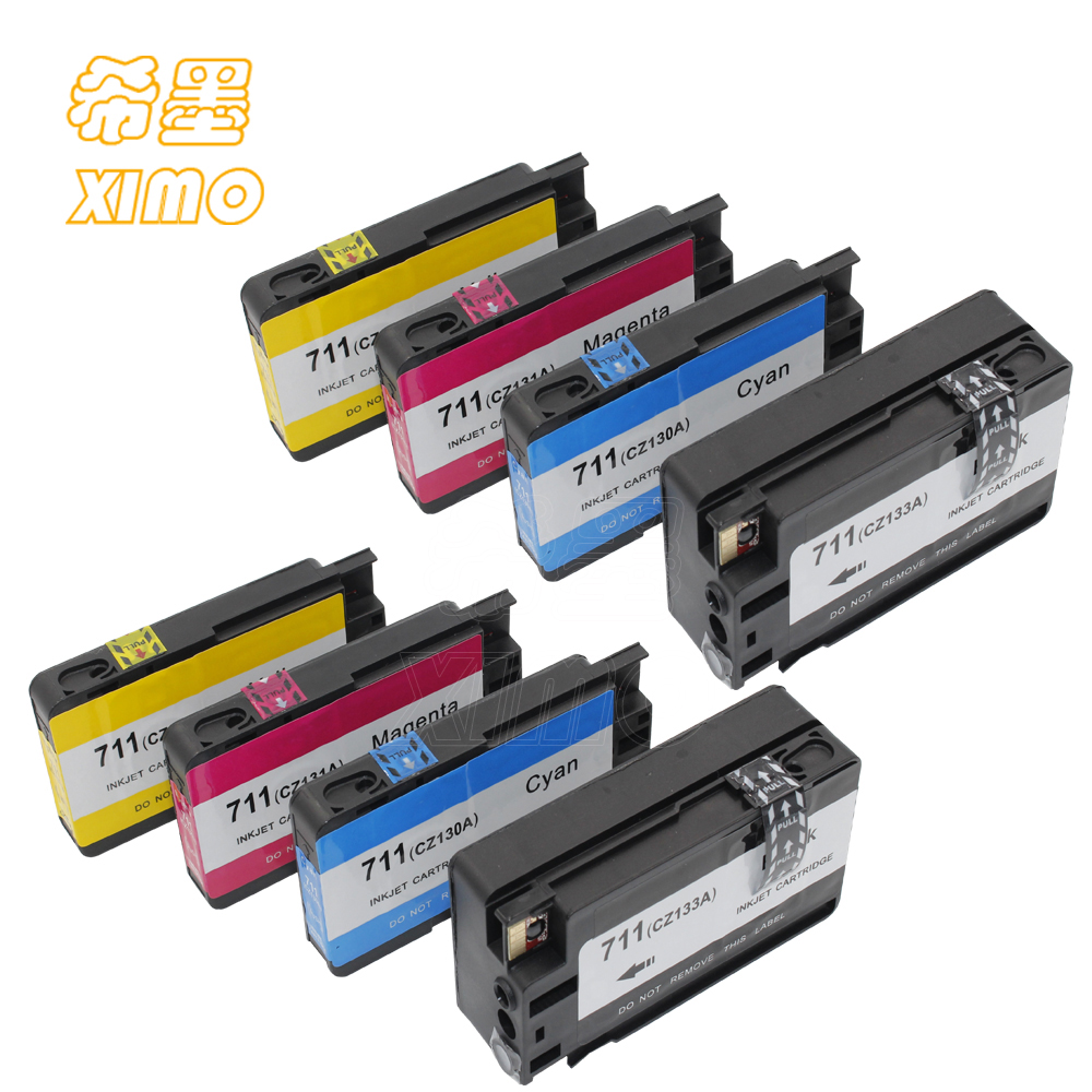 XIMO XIMO 8 Pack of Compatible Inkjet Cartridges for HP711 CZ133A CZ130A CZ131A CZ132A ink suitable for HP DesignJet T120 T520