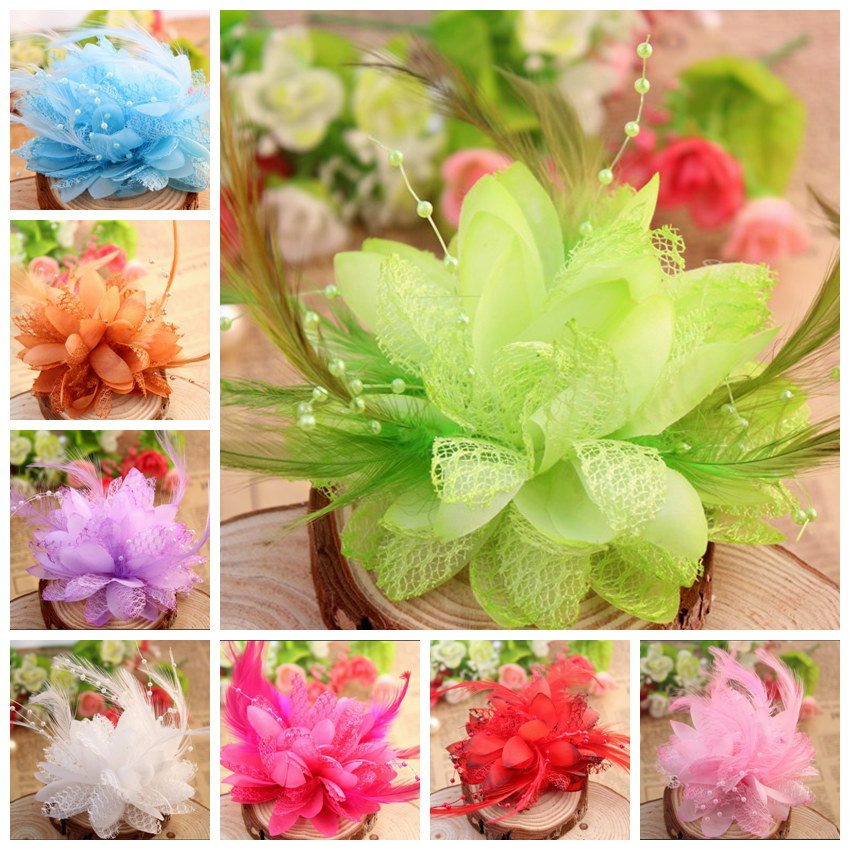Fabric feather Chiffon Flowers Artificial Hair Flower with mesh For Headbands Girls Hair Accessories