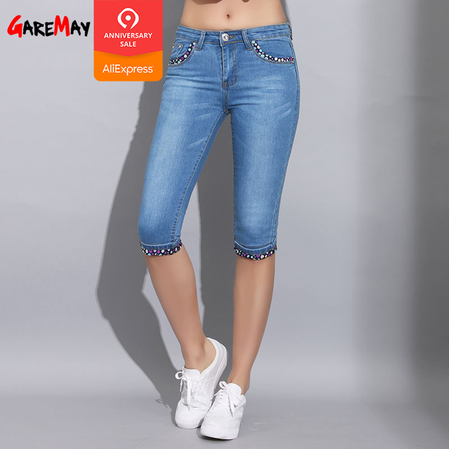 03b7bbd82a0a75 Garemay Skinny Capris Jeans Woman Summer 2019 Blue Denim Knee Length Women s  Polka Dot Pants Jeans