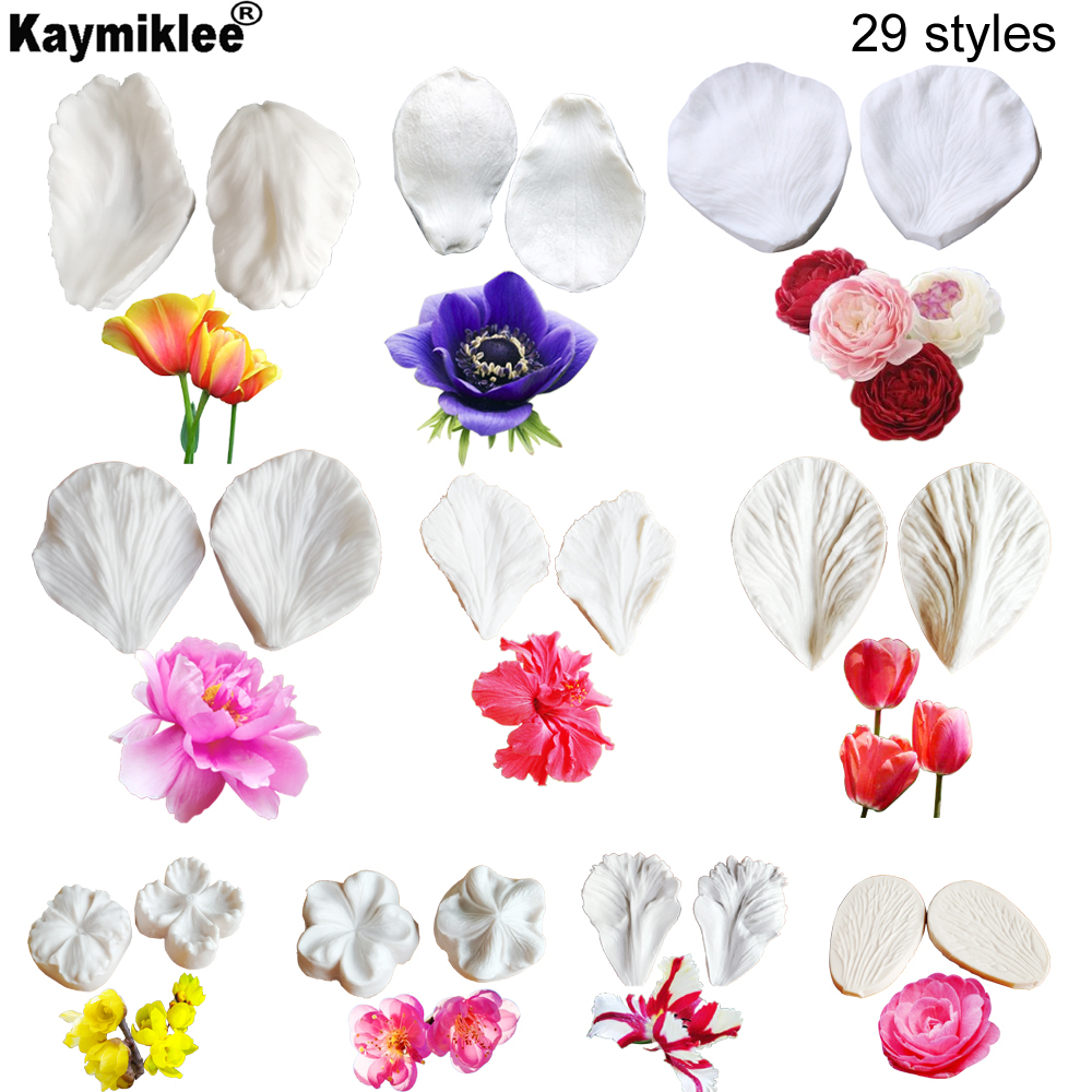 Large Peony Rose Tulip Orchid Flower Petal Veiner Silicone Mould Gumpaste Sugar Fondant Clay Mold  Cake Decorating ToolC337
