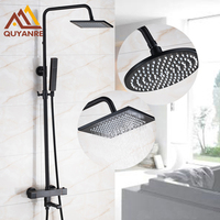 Black Color Dual Handle Thermostatic Bath Shower Faucets 8 Inch Head And ABS Headheld Head Mixer
