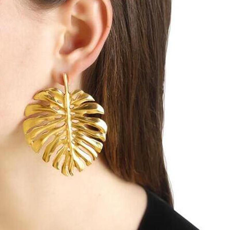 Vedawas Fashion Metal Leaf Stud Earrings for Women Simple Retro Punk Statement Jewelry Trend Party Pendientes xg1295