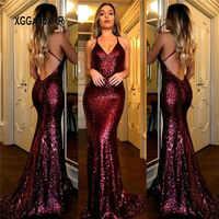 Champagner Pailletten Kleid 2019 Meerjungfrau Prom Kleid Lange Dame Formale Party Kleid V Neck Backless Sweep Zug Burgund Grün Plus größe
