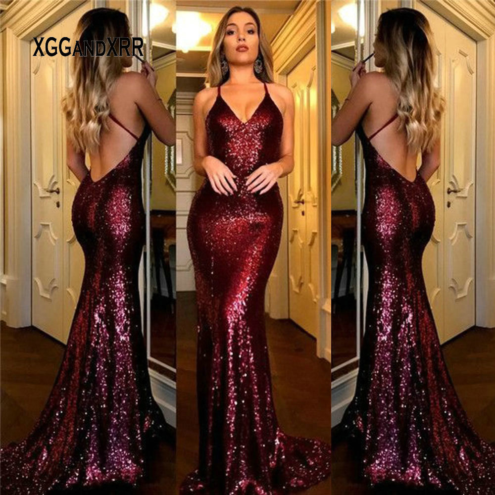 Champagne Sequin Dress 2019 Mermaid Prom Dress Long Lady Formal Party Gown V Neck Backless Sweep Train Burgundy Green Plus Size