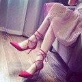 Весна Лето Женщин туфли на Высоком каблуке 2017 новый стиль Острым Носом Кросс-привязанные Ню обувь Черный и Красный цвета
