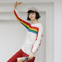 Autumn T Shirts Cotton Women S Clothing Stripe Rainbow Batwing Sleeve Loose Shirts Casual For Girls