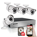 ZOSI Security Camera System 8ch CCTV System 4 x 1080P CCTV Camera Surveillance System Kit Camaras Seguridad Home 2TB HDD