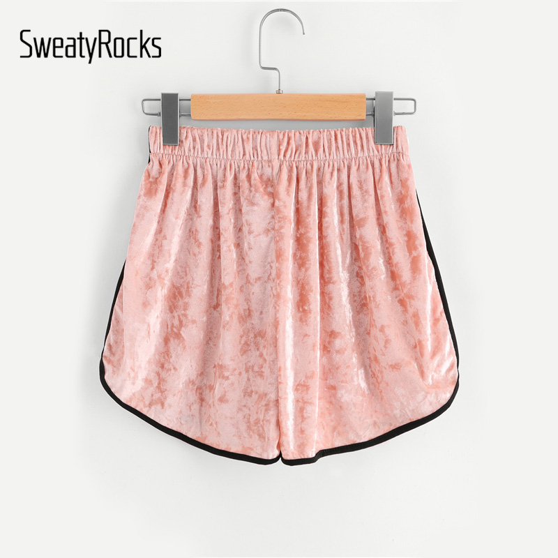 SweatyRocks Pink Contrast Trim Elastic Waist Velvet   Shorts   Women High Waist Loose   Shorts   Casual   Shorts   For Ladies