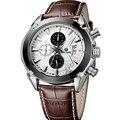 Megir cronógrafo casual reloj de cuarzo de la marca de lujo de los hombres reloj de pulsera militar de los hombres militares reloj hombre reloj deportivo genuino cuero