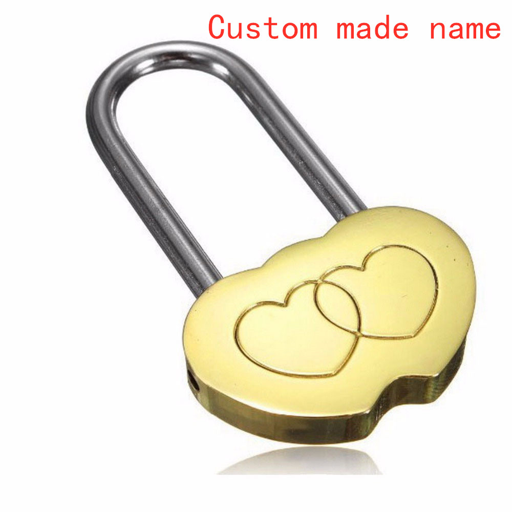 Double Heart Shaped Lock Love Engraved Padlock Valentines Anniversary Day Gifts