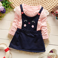 new 2016 Spring autumn girl dresses baby long sleeve infant dress fake 2pcs baby party dress for newborn girls clothes dress