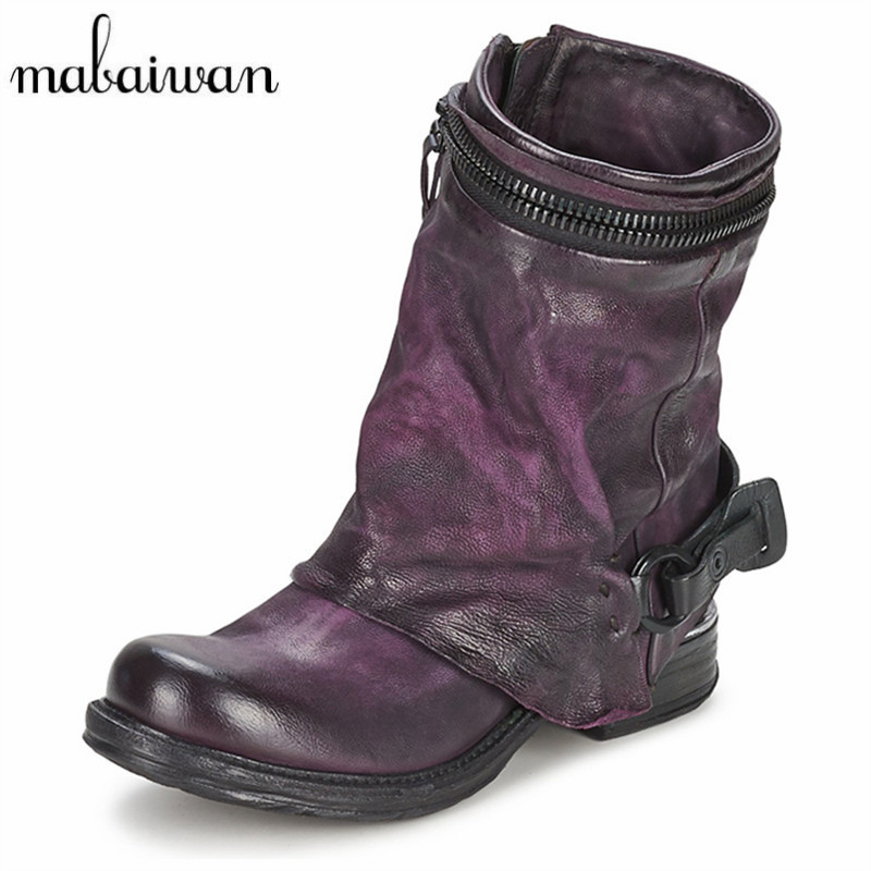 Mabaiwan Genuine Leather Fashion Zapatos Mujer Women Ankle Boots Flat Shoes Women Booties Autumn Boots Militares Martin Boots new fashion black purple women genuine leather ankle boots chain decor punk style motorcycle booties flat botas militares