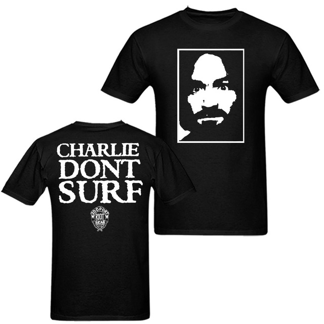 US $23 0 |Charles Manson Charlie Don't Surf Axl Rose 90s Vintage T Shirt  Men and Women Tee Big Size S XXXL-in T-Shirts from Men's Clothing on