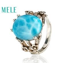 Kék természetes láncos ezüst 925 gyűrű nőknek, klasszikus ovális drágakő ékszerek, vintage stílusú virágokkal