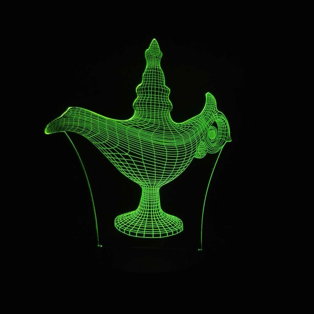3D Волшебная Лампа Алладина светодиодный ночной Светильник для создания уютной атмосферы Иллюзия настольный ночник спальня гостиная лампа для кафе баров день рождения детей Подарки