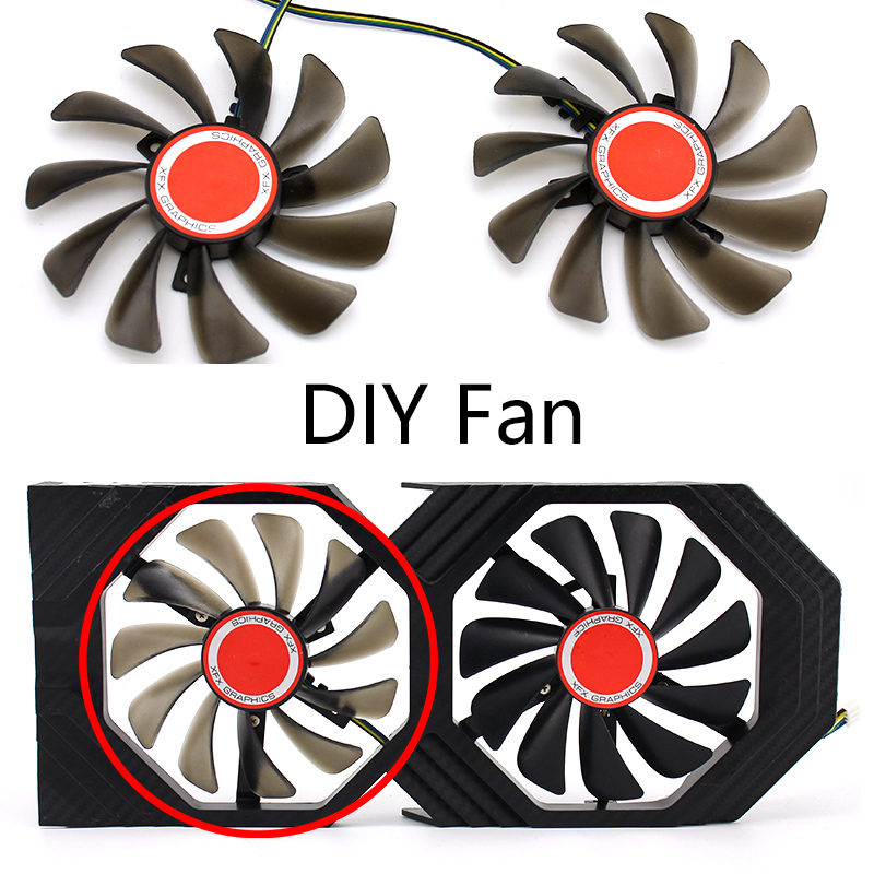 Image 2 - Original 95MM CF1010U12S DIY FDC10U12S9 C PC Cooler Fan Replace For XFX AMD Radeon RX580 RX590 GPU Graphics Card Cooling Fan-in Laptop Cooling Pads from Computer & Office