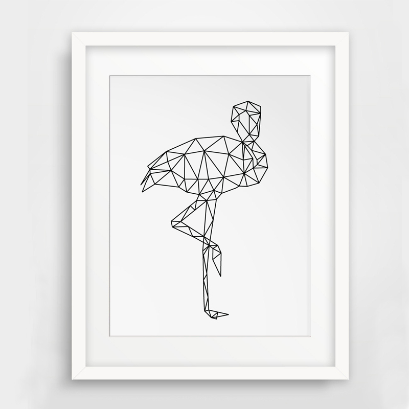 Drawing Lines With Canvas : Modern geometric flamingo canvas painting triangles wall