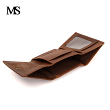 2017 Genuine Cow Leather Men Wallet Fashion Coin Pocket Brand Trifold Design Men Purse High Quality Male Card ID Holder TW1666 mingclan vintage trifold genuine leather wallet men design cowhide leather id card holder male purse short coin pocket bag purse