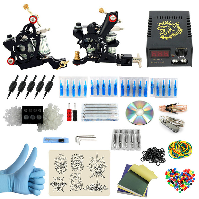 2017 Pro Complete Tattoo Machine Kit Set 2Pcs Coil Tattoo Machine Gun Power Supply Needles Grips Tips Footswitch For Body Art