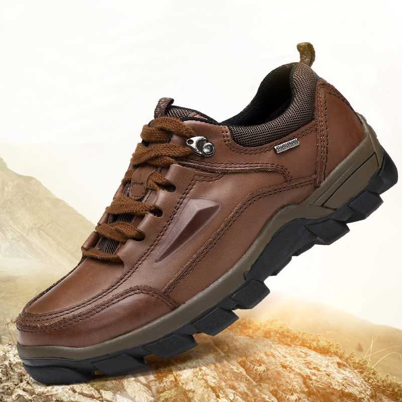 Spring Autumn And Winter New Leather Outdoor Shoes Hiking Shoes With The First Layer Of Leather Low To Help Dad Shoes Men Shoes цены