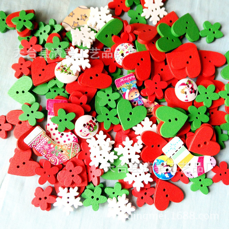 100Pcs/Lot Mixed 2-Hole DIY Wooden Buttons Purple Pink Red Montessori Early Education Toys For Party Christmas Gift For Children