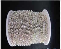 10 metrów/partia 2.0mm przezroczysty przezroczysty kolor dżetów koperek diament łańcuch pazur srebrny dno kubek łańcuch darmowa wysyłka