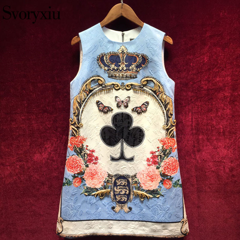 Svoryxiu 2018 Spring Summer Runway Dress Womens Sleeveless luxurious Diamonds Beading Floral Print Vintage Party Short Dress