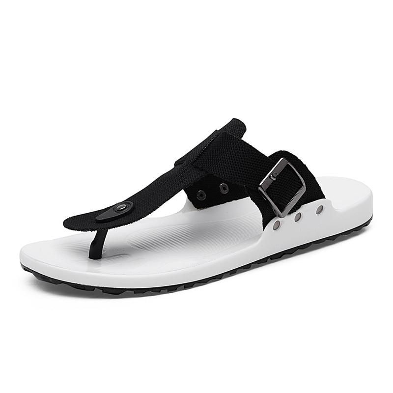 1a0173bc7 2018 Canvas Sandals Men Black Blue Grey Flip Flops Casual Flat Sandals  Summer Beach Slipper Men Comfort Design Flip Flops Shoes-in Flip Flops from  Shoes on ...
