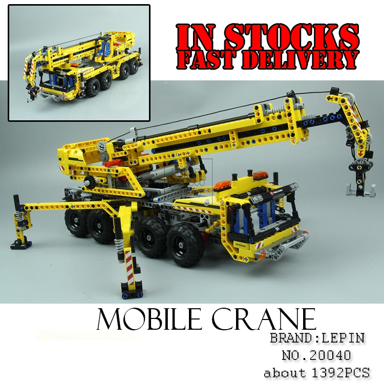 Lepin 20040 1392Pcs Technic Mechanical Series The Moving Crane Set Educational Building Blocks Bricks Toys Model Gift lepin 20076 technic series the mack big
