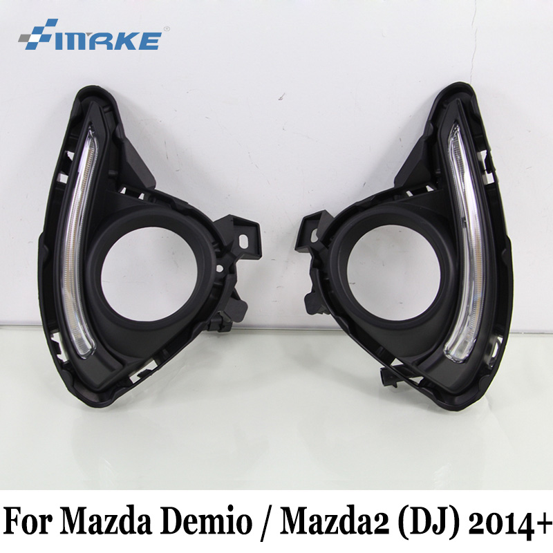 SMRKE DRL For Mazda Demio 2 Mazda2 DJ 2014~Present / Car Daytime Running Lights With Fog Lamp Frame / Car Styling Free Shipping atos lombardini комплект