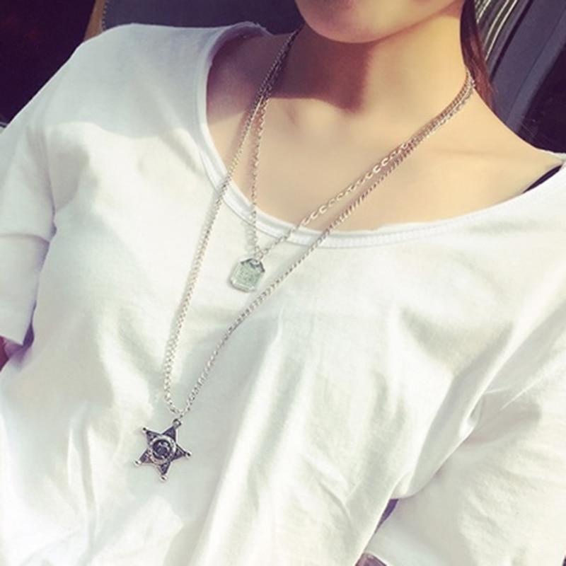 6pcs/lot Personalized Double Layer Sweater Neckchains Pentagram Star Pendent Neckalces Ladies Makeup Jewelry jn609