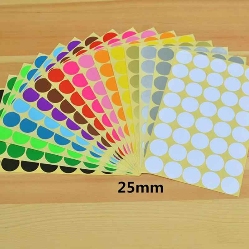 Diameter 25 Mm Bulat Dot Permen Warna Circle DIY Dekorasi Susu Sticker Stationery Lengket Label Stiker