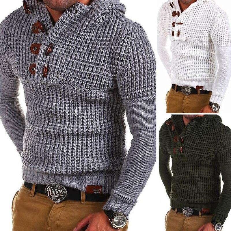 Вязаный свитер с капюшоном для мужчин, пуловер с длинным рукавом и v-образным вырезом, хлопковые свитера, тонкий джемпер, вязаная зимняя верх...