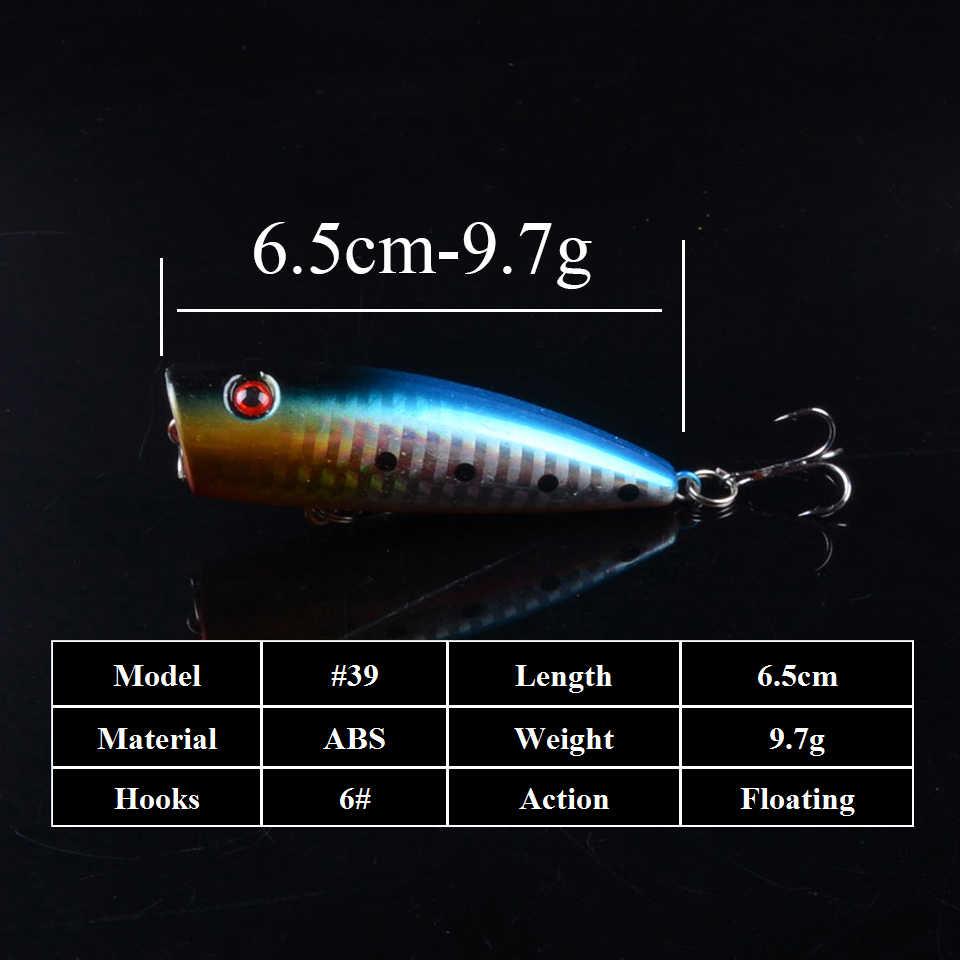 1 Buah 6.5 Cm 9.7G Popper Wobbler Memancing Umpan dengan 6 # Kait Mengambang Crankbait Buatan Umpan POPPER Pesca 3D Mata