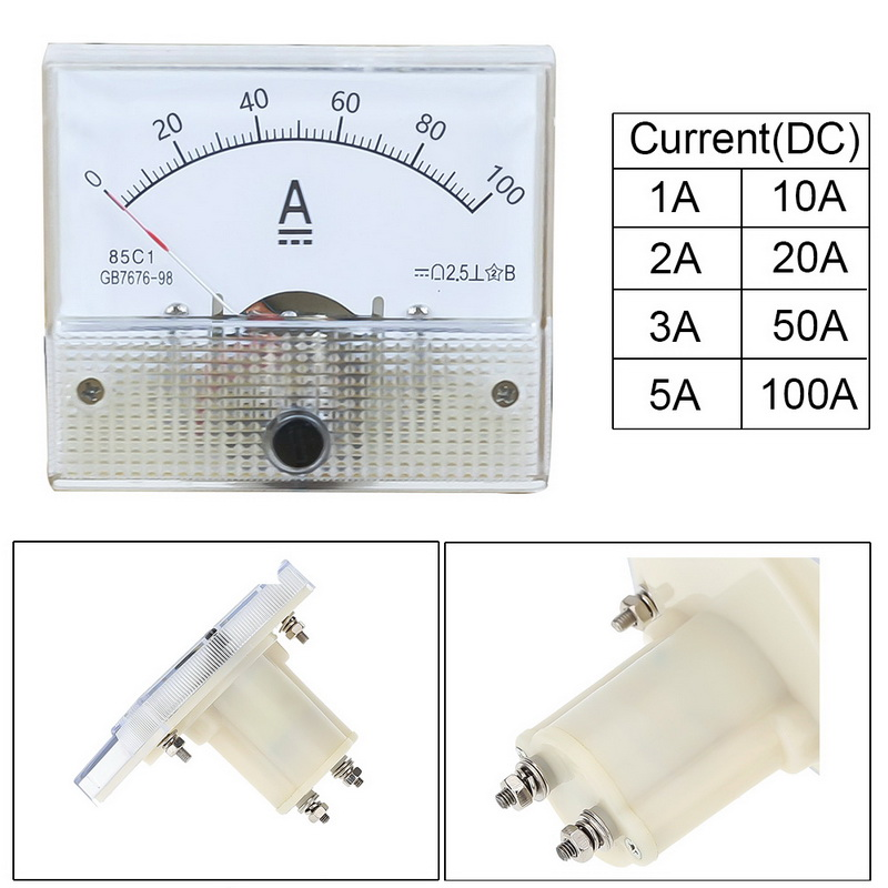 Junejour DC Pointer Ampere Meter 64*56mm Plastic Analog Mechanical Gauge Ammeter 1A 2A 3A 5A 10A 20A 50A 100A Current Meters