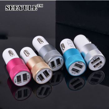 1pc SEEYULE dual USB Universal Car Charger 1A 2.1A 2 Ports Cigarette Lighter Phone Pad Charger Accessories for VW Honda BMW image