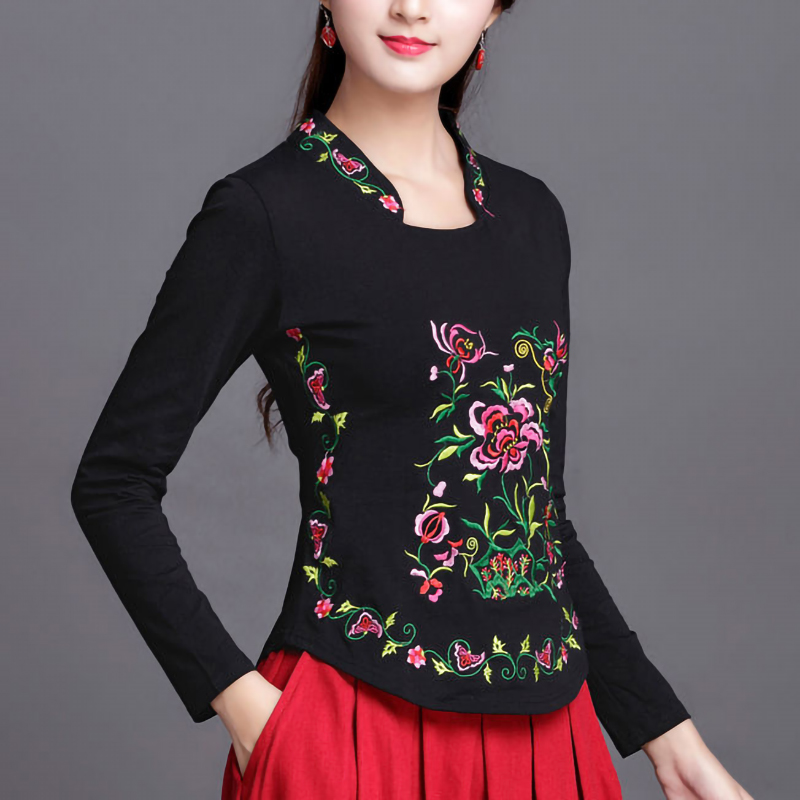 Ethnic Embroidery T Shirt Women Plus Size Spring Tops Autumn Long Sleeve Bottoming Cotton Tees High Collar White Ladies Clothes
