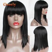 Парики из искусственных волос без шапочки-основы короткий черный парик из натуральных волос