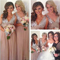 Sequins Chiffon V-Neck Bridesmaid Dresses Plus Size Rose Gold Sparkly Maid of Honor Bridal Wedding Party Gowns Maternity 2016